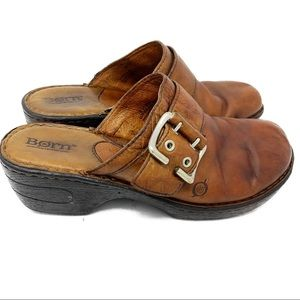 BORN brown leather clogs size 8